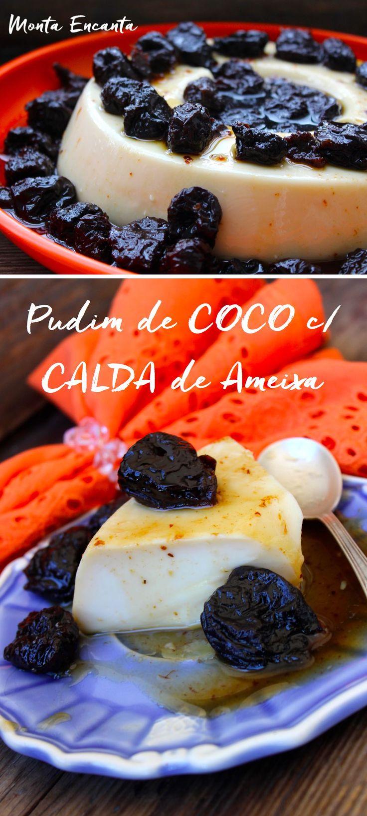 Este pudim de Coco com Calda de Ameixa, lembra um flan cremoso com sabor de coco que combina bem com a calda de ameixas que o acompanha.