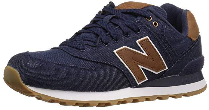 New Balance Men's ML574 Canvas Pack Sneaker, Navy/Brown, 7 D ...