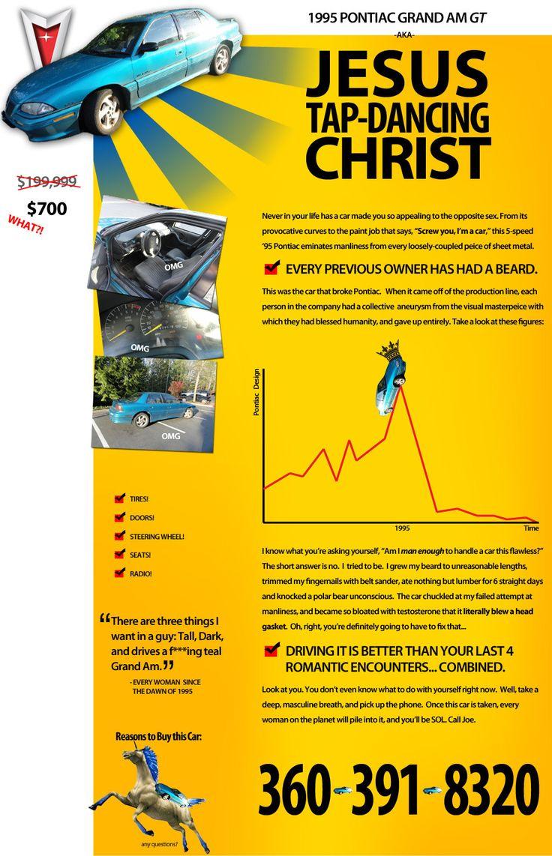 """Jesus Tap-Dancing Christ"" The Greatest Craigslist Car Ad Ever"