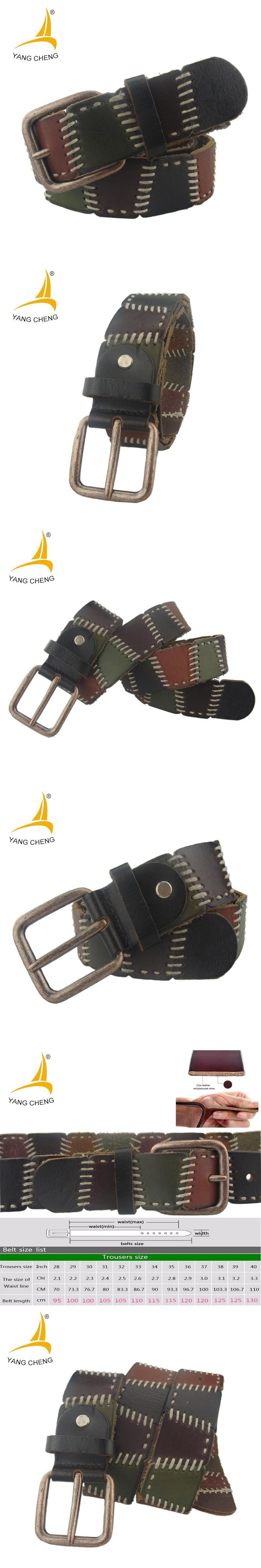 [CNYANGCHENG]four colors handmade 100% cow genuine leather belt antique brass buckle fashion genuine leather belt free ship