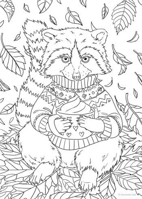 Raccoon Printable Adult Coloring Page From Favoreads Coloring