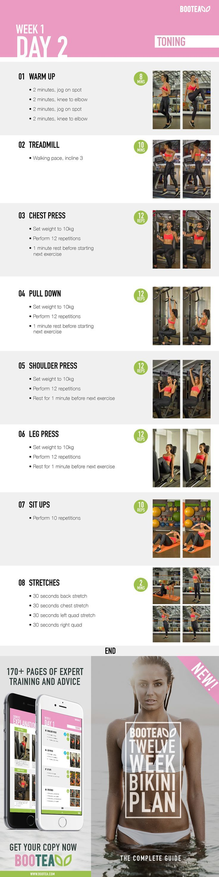 A sample workout from our 12 Week Bikini Fitness Plan, taking you step by step through a gym based transformation. The workouts gradually increase in intensity, and the flexible training time table allows you to fit your exercising around your schedule. O