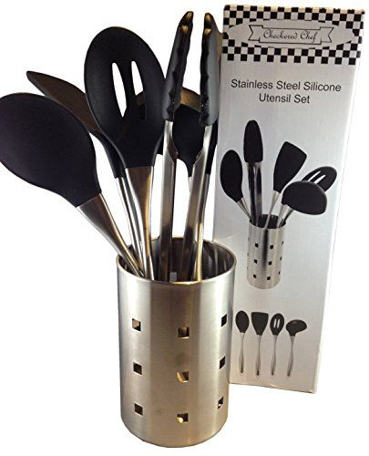 #kitchen Look no further, the #Checkered #Chef Stainless Steel Silicone Utensil Set has everything your kitchen needs and more! Ease of use (did we mention they a...