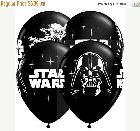 We are a US seller located in Oklahoma.  Qty: 10 Star war Balloons 11 Latex  These are superior quality Qualatex balloons  Your balloons can be filled with helium or air. They ship uninflated. Ribbon not included.  Colors may differ on computer monitors.  Fill slowly overfilled Balloons can Pop.  Children can choke or suffocate on broken balloons keep away from small children.