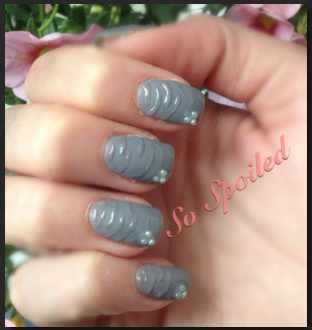 Bio Sculpture Gel Nails Grey Matte Nail With Glossy French And Stripe Design Pearl
