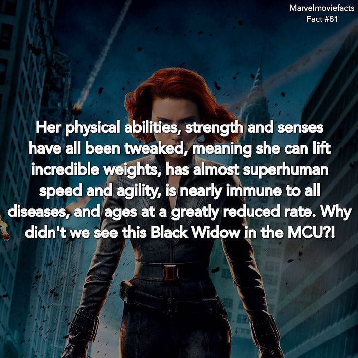 Born in 1928 and recruited by Soviet Intelligence at some point in the late '30s Romanoff was exposed to a Soviet version of the same super-serum that turned Steve Rogers into Captain America when she joined the Black Widow program. - - I wish they would've made her like this for the MCU! - - #Marvel | #blackwidow | #Facts by marvelmoviefacts
