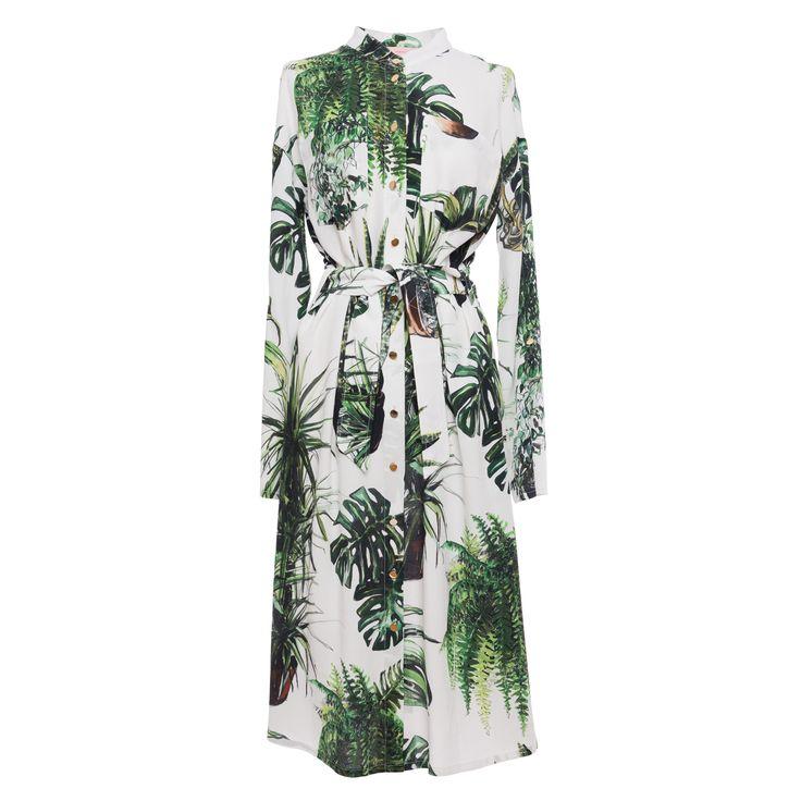 Plants print shirtdress