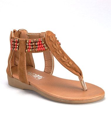 Look what I found on #zulily! Tan Beaded Sandal by Shoes of Soul #zulilyfinds
