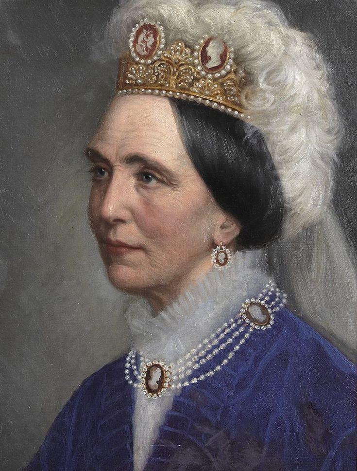 Josephine of Leuchtenberg wearing the Swedish Cameo Tiara, by Bertha Valerius (Swedish, 1824-1895)
