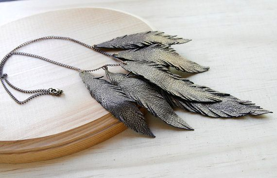 Steampunk Tiger Lily - Layered Leather Feather Necklace Bronze shimmer Free by TZain