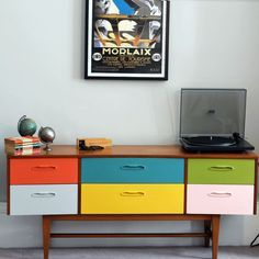 upcycled, coloured retro sideboard