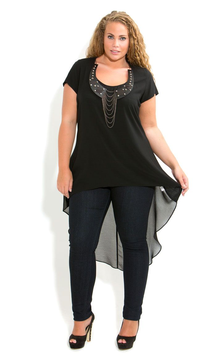 City Chic - HI LO NECKLACE TOP - Women's plus size fashion