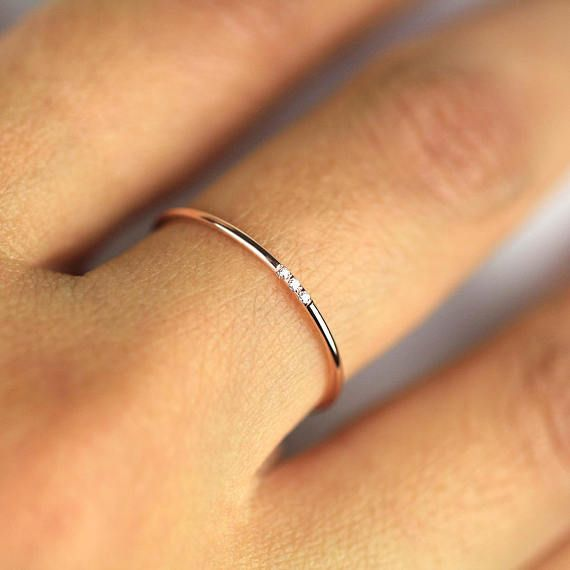 Minimalist Wedding Band, Diamond Wedding Ring, Diamond Wedding Band, 14k Solid Gold Diamond Band, 1.1mm Full Round Ring with Natural Diamond