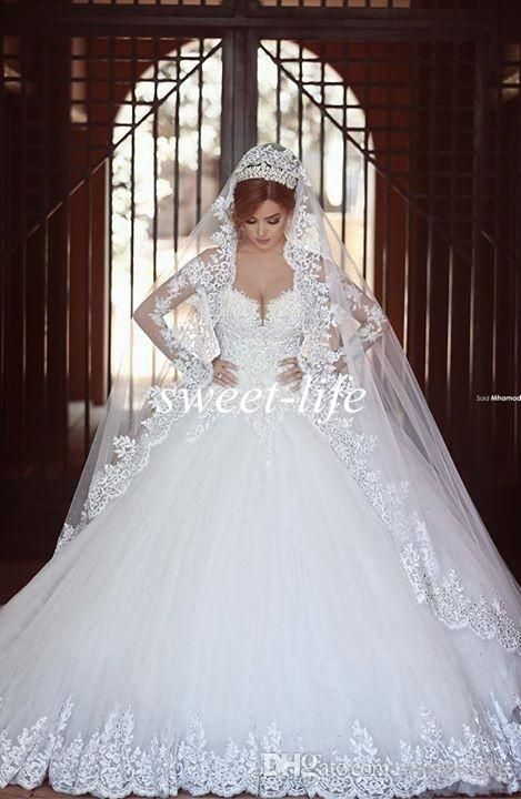 Beautiful Gorgeous Plus Size Wedding Dresses Princess with Long Sleeves Applique Vintage White Sheer Sweetheart Custom