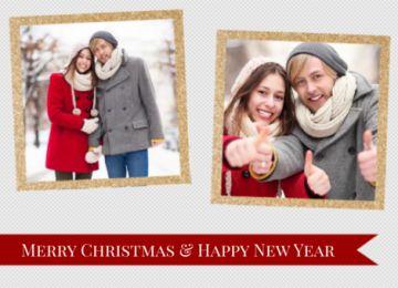 Leuke kerstkaart met een grijze achtergrond en gouden lijsten om je eigen foto's in te plaatsen.  En om de kerst sfeer vast te houden een rode banner waar je jouw kerstwens in kunt vullen.