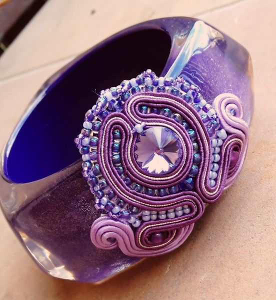 Acrylic and soutache bracelet Silver Lilacs