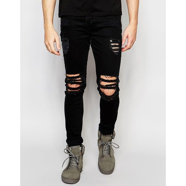 Dark Future Super Skinny Jeans With Extreme Rips ($64) ❤ liked on Polyvore featuring men's fashion, men's clothing, men's jeans, black, mens ripped skinny jeans, mens ripped jeans, mens destroyed jeans, tall mens jeans and mens distressed jeans