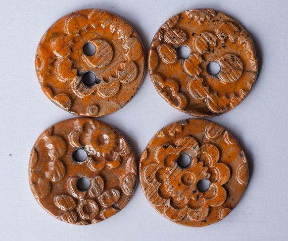 4 orange ceramic buttons raku ceramic raku buttons set of