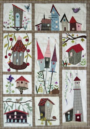 Bird houses ~ this would be the perfect curtain for my front hall/lower stairway window  with my bird stuff collection, but I paint much faster than sewing details like this.