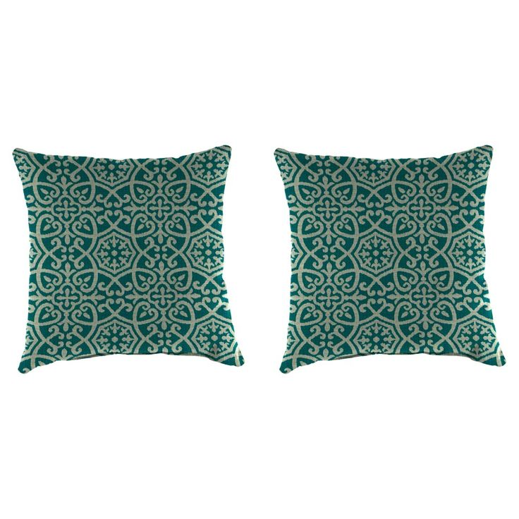 Outdoor Set Of 2 Accessory Toss Pillows In Ayathena Teal - Jordan Manufacturing, Lagoon Turquoise