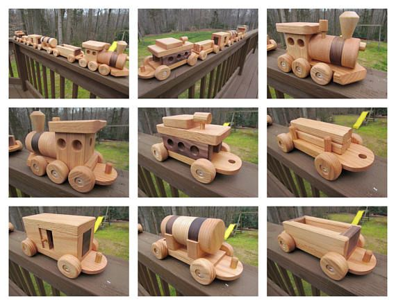 This is a beautifully detailed Heirloom Quality train set I finished with all natural beeswax made with hardwoods from Southern Maryland. Oak and mahogany woods and birch dowels. The wheels are Handmade oak with wood hubcaps. All wheels do turn. There are No nails, screws and metals parts.