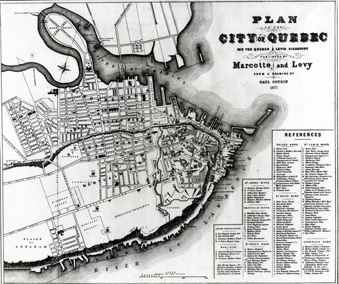 The permanent fortification works, especially the Martello Towers, appears on this 1871 Quebec city map. Description from lesplainesdabraham.ca. I searched for this on bing.com/images
