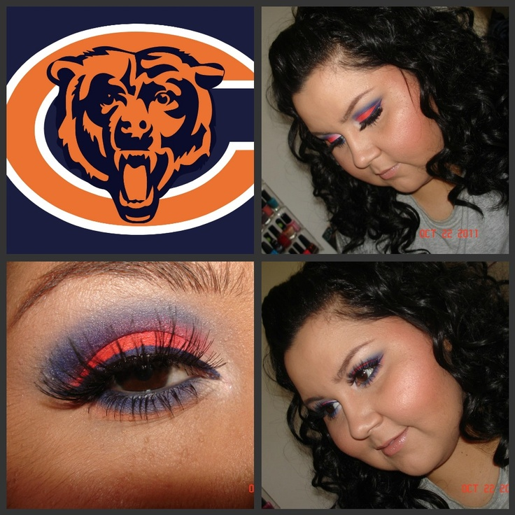 Chicago Bears Bear makeup, Bear face paint, Pretty makeup