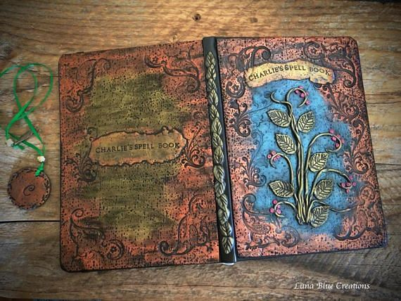 Personalized Journal Polymer clay journal Metallic Copper &