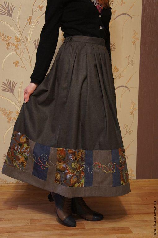 """Купить Юбка """"Городская прогулка"""" - темно-серый, абстрактный, юбка длинная, одежда для женщин"""