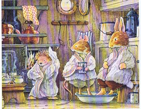"""from Foxwood Tales by Cynthia and Brian Patterson""""Bathtime"""" - super cute woodland creatures soaking their feet"""