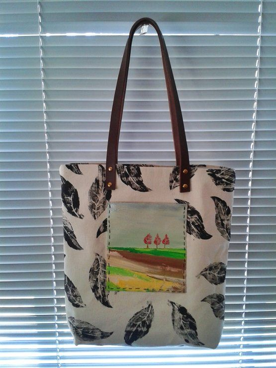Tree landscape tote bag .. Acrylic painting on a canvas bag   #artonbag #paintings  #fashionart  #bagdesigns  #artbag