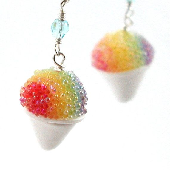 Rainbow snow cone earrings by inediblejewelry on Etsy, $24.00