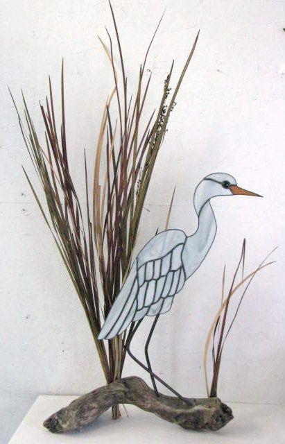 Heron On Driftwood by Sandy Burnett, Glass Moose, Lake of the Ozarks, MO (glassmoose.com)