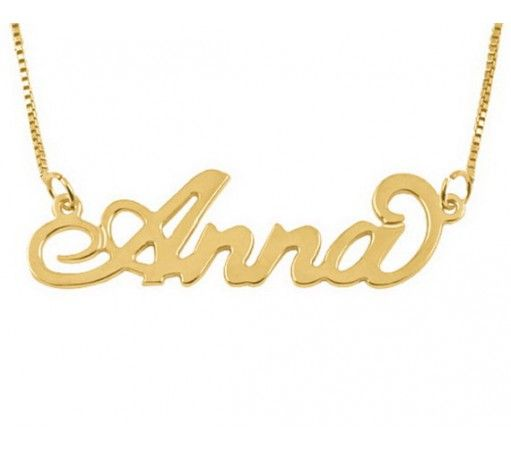 Personalized Handmade Anna Name Necklace in 18K Gold Plated Silver