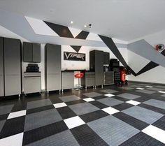 Abstract Painting Garage Walls Black And Grey