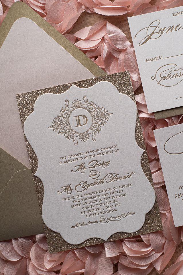 ABIGAIL Suite Fancy Ornate Package, die cut, fancy shape, blush and gold, luxe wedding invite, high end, glitter wedding invitation, letterpress