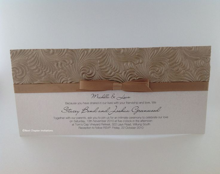 CAPPUCCINO SWIRL  A beautiful swirling mink embossed metallic paper and a latte satin bow. Comes complete with addressed envelopes. PRICE $3.95 https://www.facebook.com/NextChapterWeddingInvitations