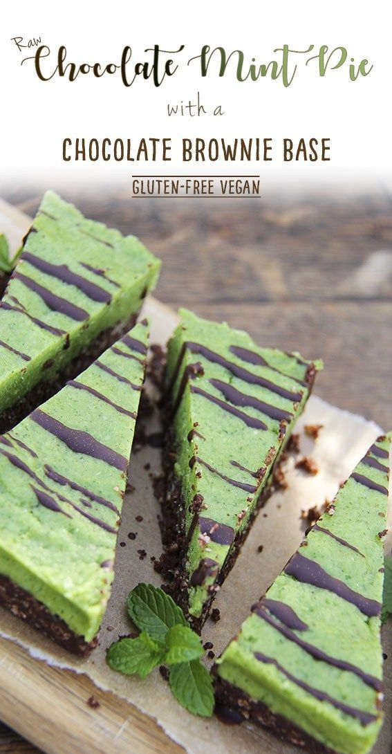 Raw chocolate mint pie with chocolate brownie base by Trinity #glutenfree #vegan #mint