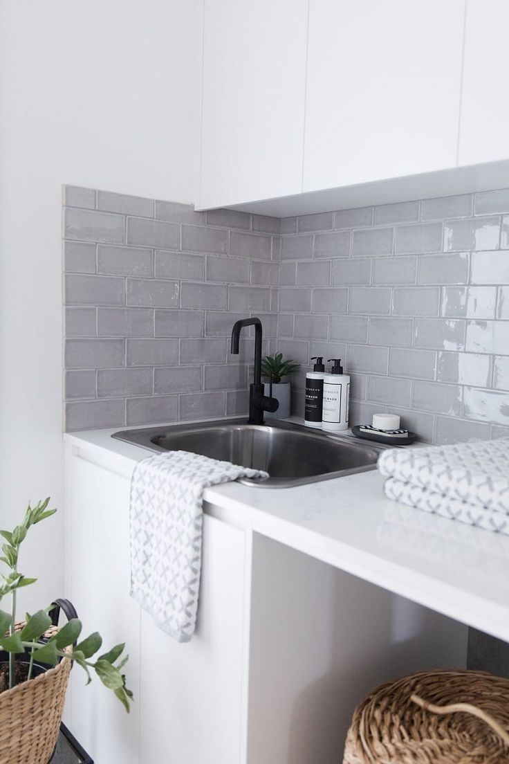 The 25 best subway tile bathrooms ideas on pinterest grey moncrieff residence studio black hand made subway tiles in a soft grey paired with dailygadgetfo Choice Image