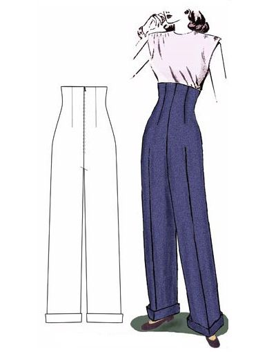 """Decades of Style 1940's Empire Waist Trousers.    The look of these pants takes me back to the 1980s.  So """"Hepburn"""".  Wonder how they would look on """"Molly"""" or """"Emily"""".... OR perhaps """"A Girl For All Time's"""" """"Clementine""""?"""