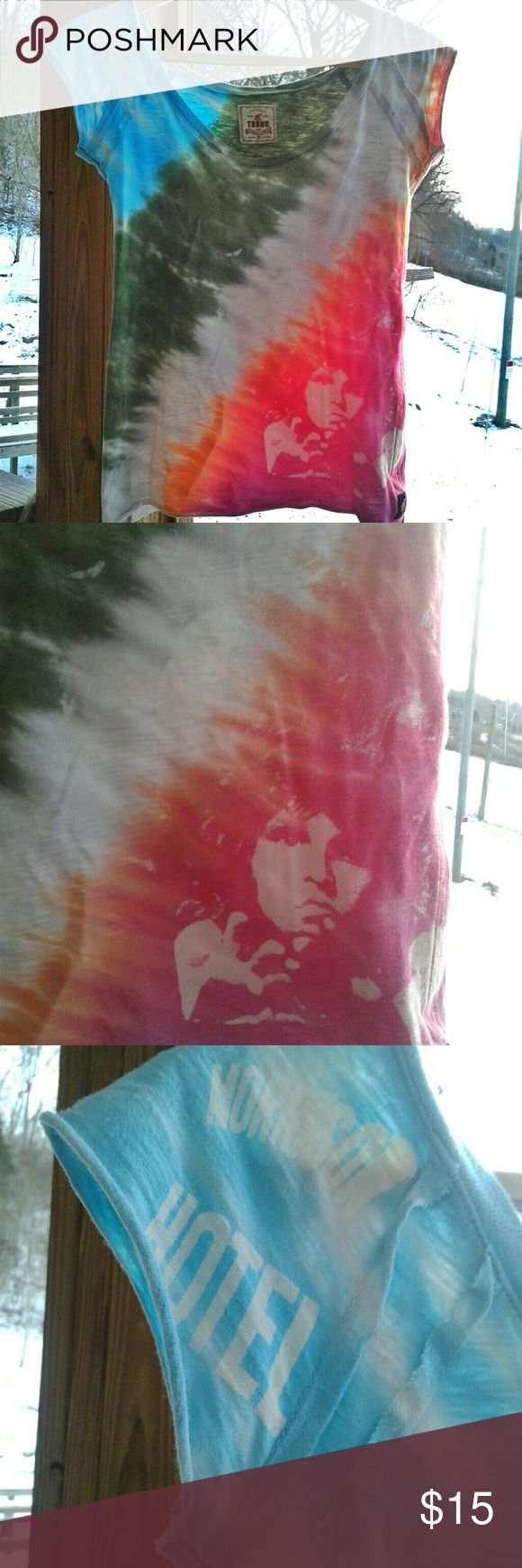 💚 Jim Morrison, The Doors tie dye T This shirt it to die for y'allll! I love it...alot. buttt I have 4 Doors shirts now so I guess I can let one go...this one is just a bit snug on me..it fits true to size and is a bit stretchy but I have a slight beer/wine belly going on sooo...🙄 Trunk Ltd Tops Tees - Short Sleeve