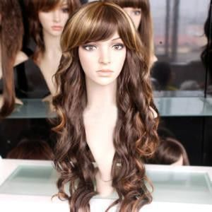 new long brown mixed hair curly fashion wig/wigs
