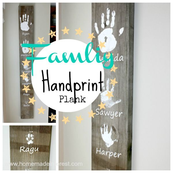Want to fill your home with personalized art work? Make this Personalized Handprint Wall Art! There's even room for the dog!