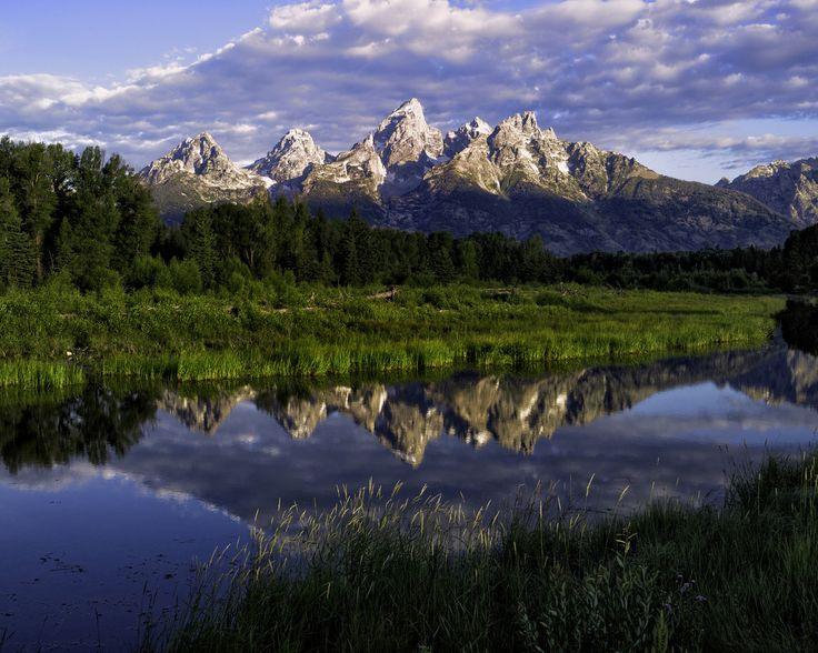 вода, деревья, горы, природа