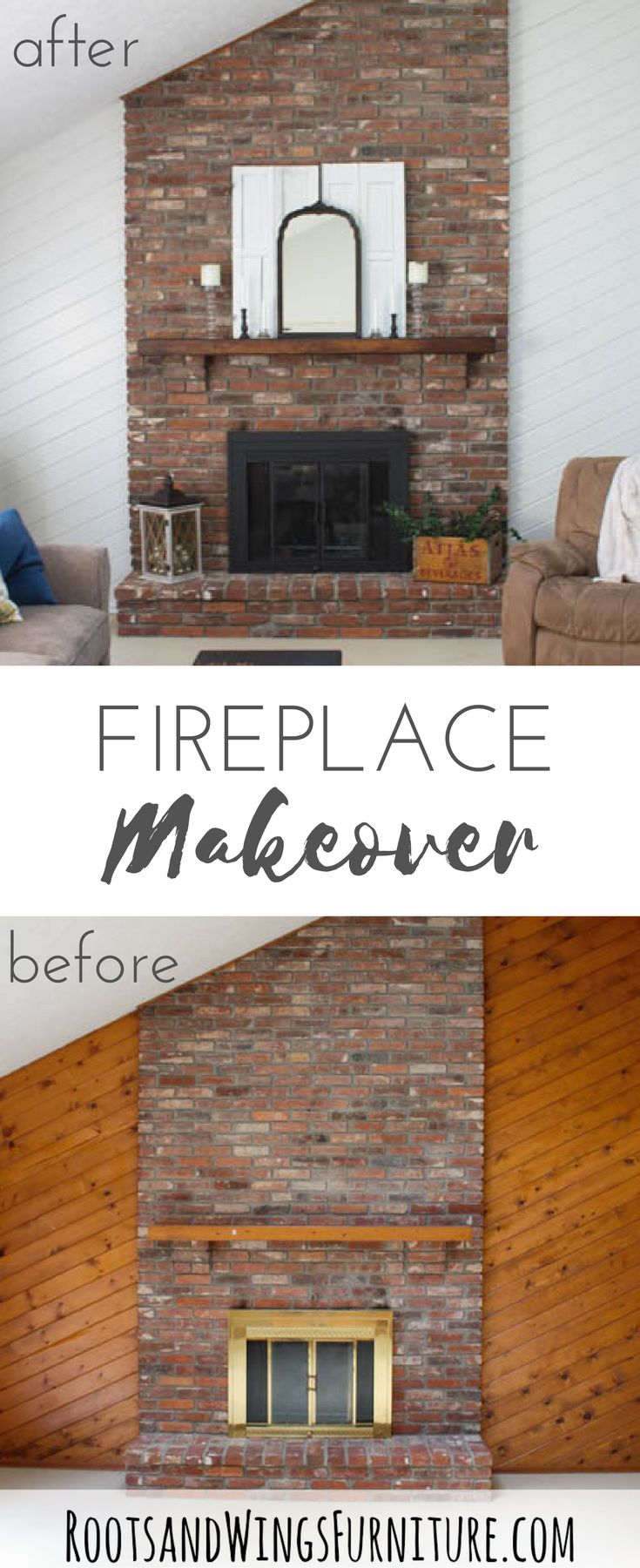 A quick and easy fireplace makeover that makes a complete difference.  Learn how to prime and paint pine paneling, brass fireplace screen and the mantel beam.  Makeover by Jenni of Roots and Wings Furniture.