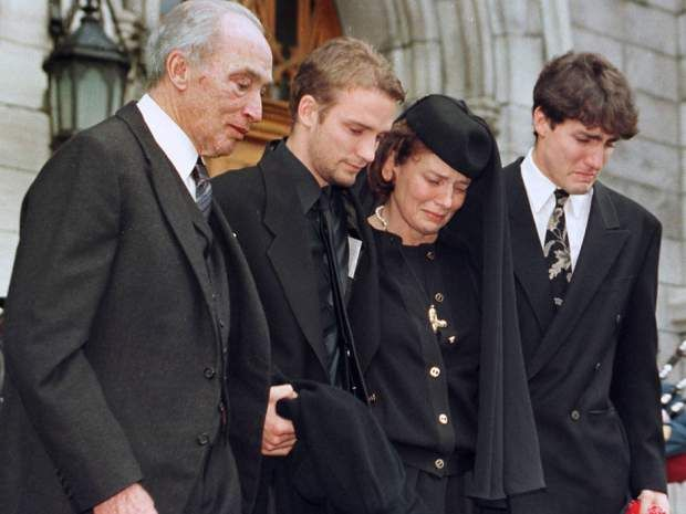 The Trudeau family leaves St.Viateur church after a memorial service for Michel Trudeau in Outremont Friday, November 20, 1998. Pierre Trudeau is seen with Sasha, Margaret and Justin.