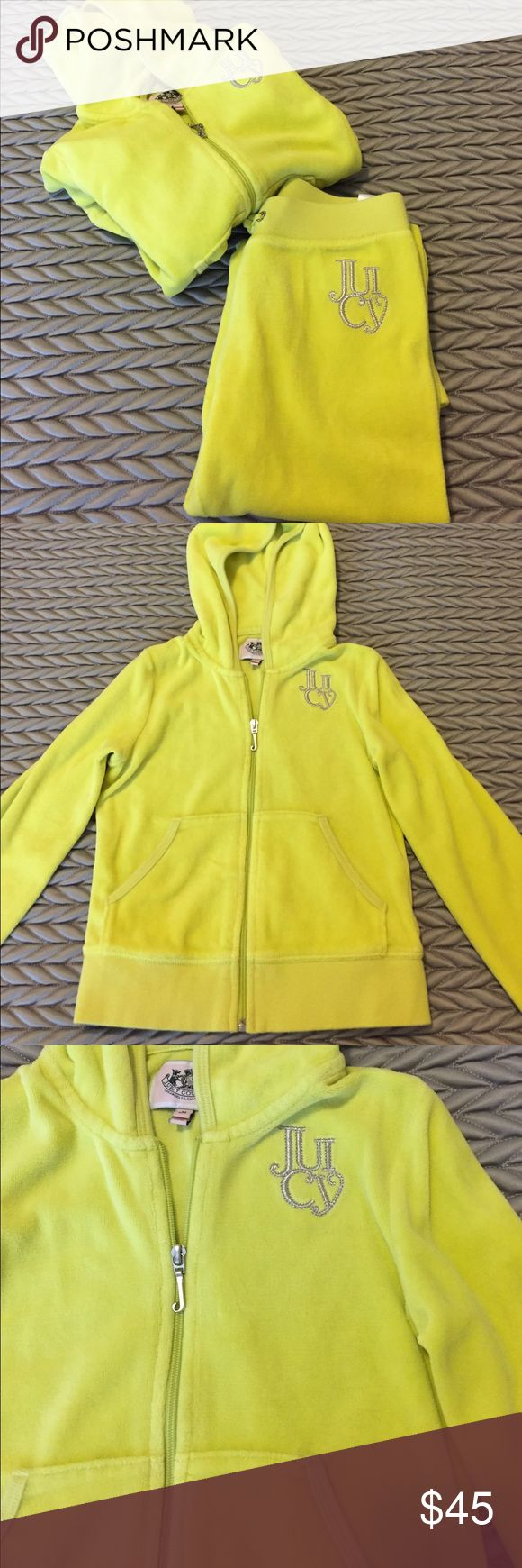 Juicy couture girls 2 piece sweatsuit Yellow, juicy couture embroidered velour sweatsuit. Both pieces included, matching set. Perfect condition, only worn a couple of times. Size medium 6/7, both the pants and the jacket. Juicy Couture Matching Sets