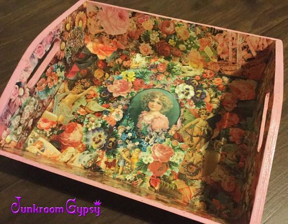 A handy little decoupage tray i bought Op Shopping Its just gorgeous and so much love has gone into creating it. I use it when i craft on the lounge to hold all my bits and pieces.