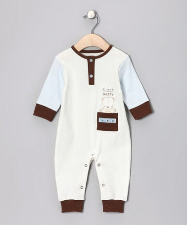 Take a look at this White & Brown 'Fuzzy Wuzzy' Playsuit by trés beau Layette on #zulily today!