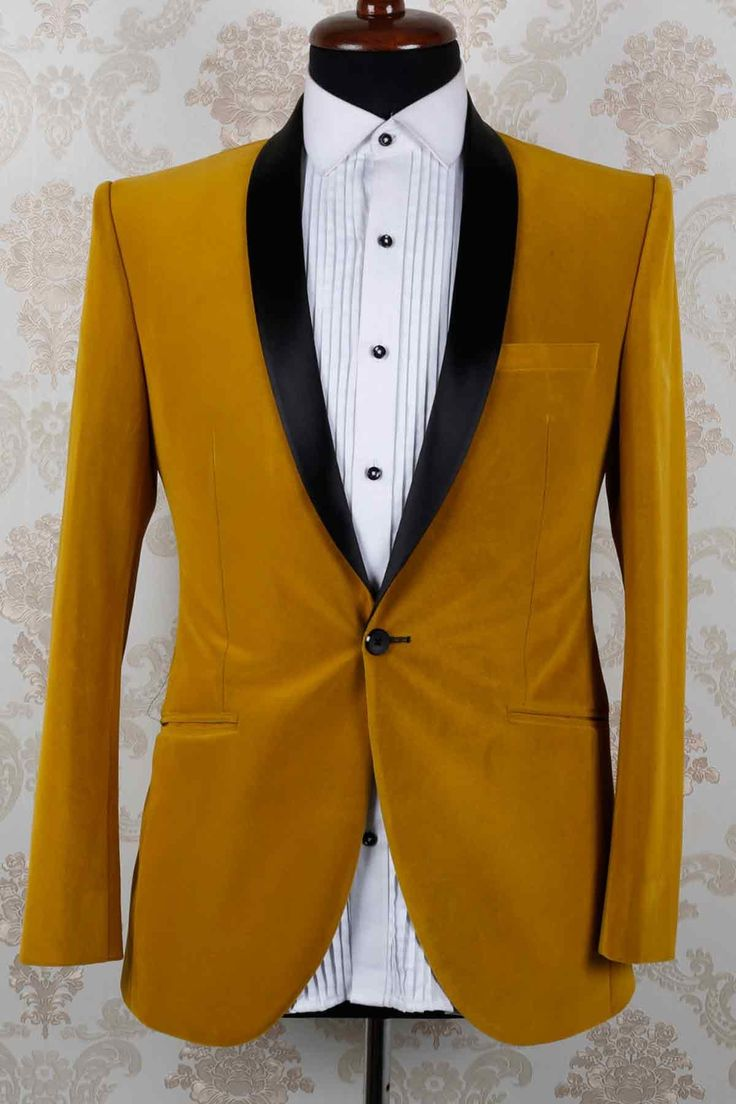 mustard yellow velvet slim fit aesthetic suit with shawl